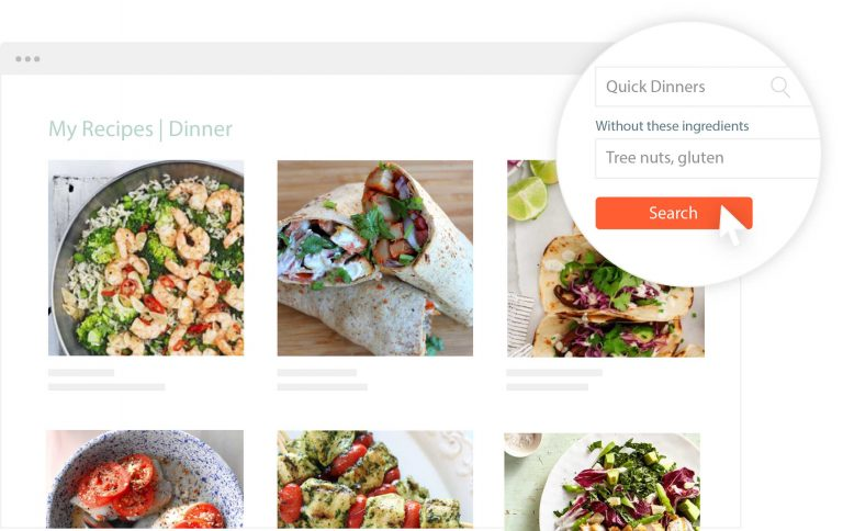 cropped image of online recipe organizer search feature