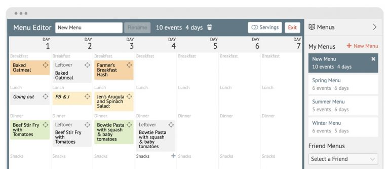 cropped screenshot of the Plan to Eat website meal planner